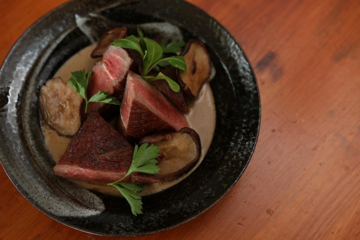 Dry Aged Steak with Creamed Wild MushroomSauce