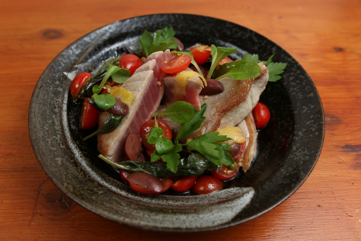 Mediterranean Style Pan Seared Tuna with Lemon Vinaigrette and Tomatoes, Olives and Basil