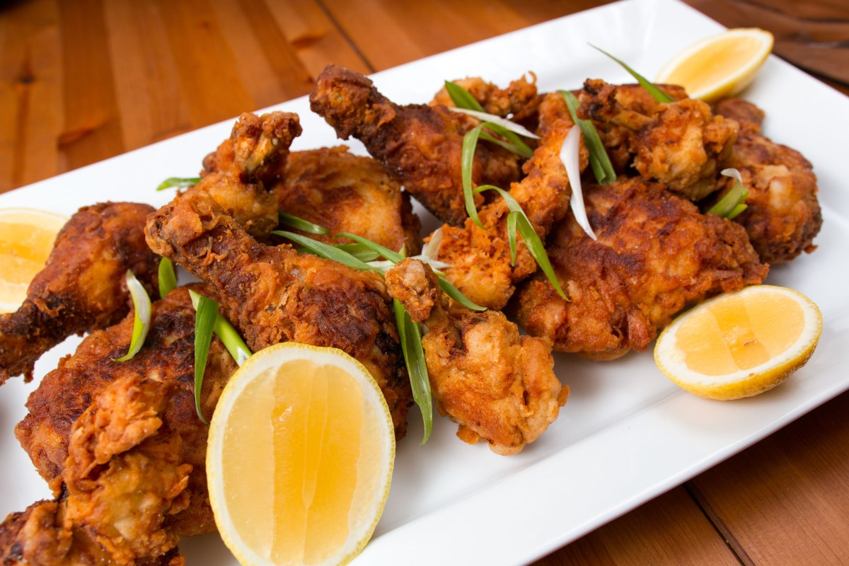 Fried Chicken with Lemon and Spring Onions