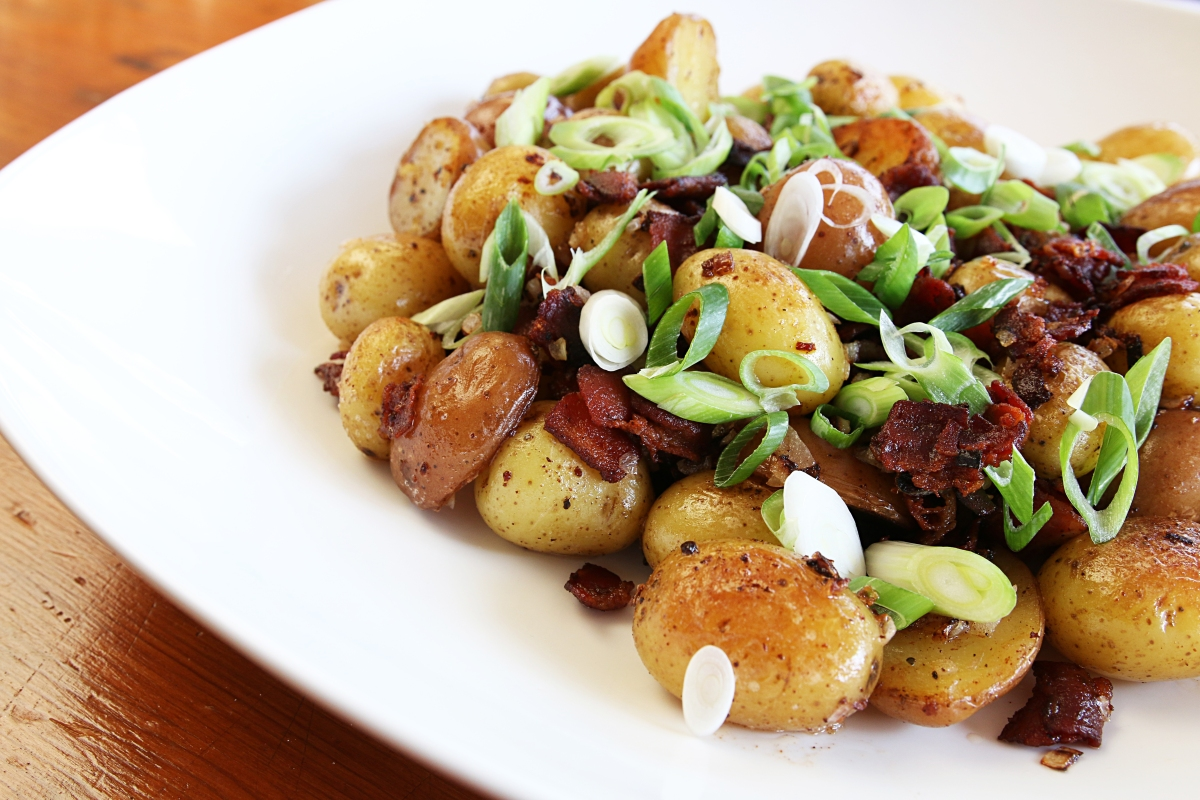 Saute New Potatoes with Bacon and SpringOnions
