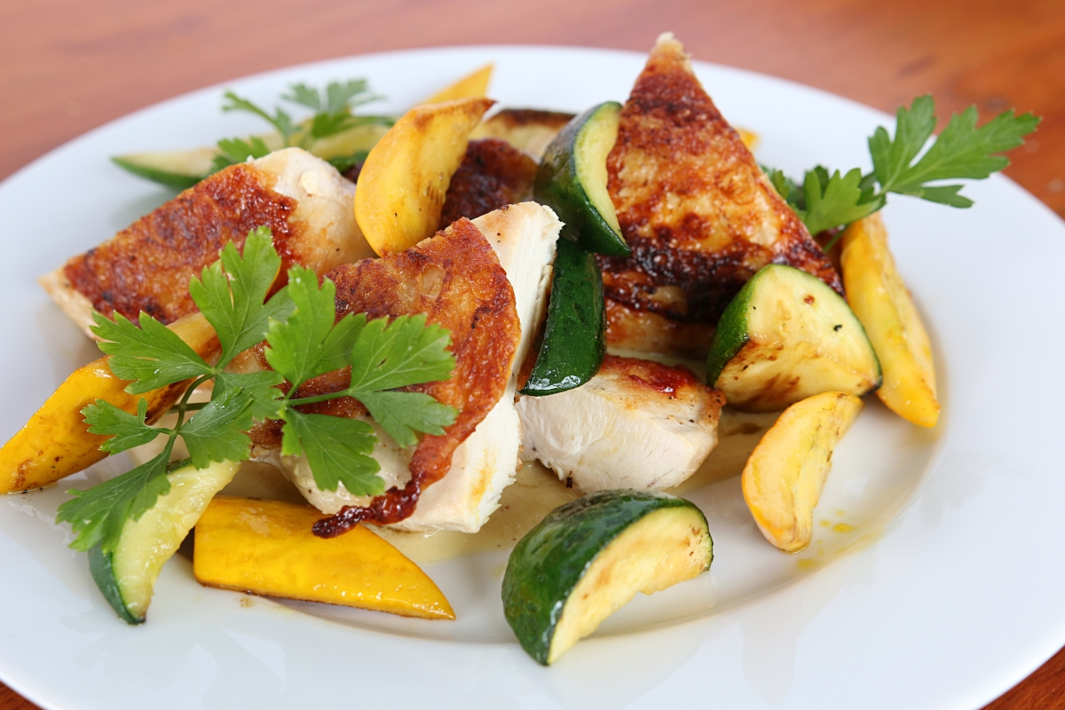 Chicken with Corn Puree and Summer Squash